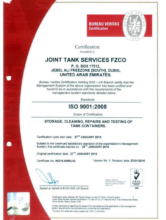 Bureau Veritas Iso 9001 Joint Tank Services Fzco